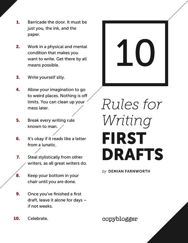 10 Rules for Writing a First Draft - Copyblogger